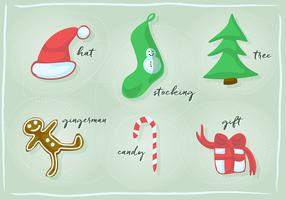 Free Christmas and New Year Retro Vector Design Element Collection