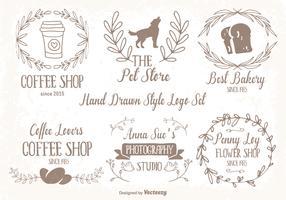 Cute Hand Drawn Style Logo Set