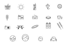 Family Picnic Line Icons