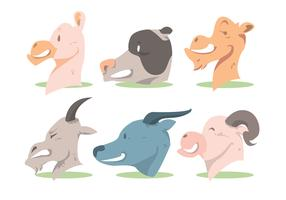 Animal Head Vector Set