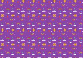 Free Balloons and Rainbow Pattern Vector
