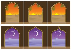 Arabian Landscapes And Door Vectors