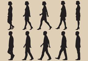Walk Cycle Silhouette Vectors