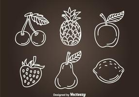 Fruits Hand Drawn Icon Vectors