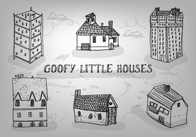 Free Hand Drawn Goofy Houses Vector Background