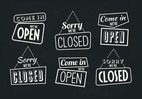 Vintage Sign Open and Closed Vectors