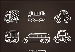 Vehicle Hand Drawn Icon Vectors
