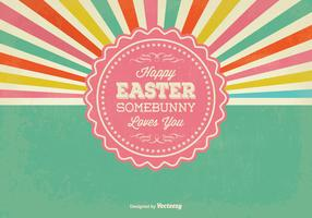 Retro Sunburst Style Easter Illustration