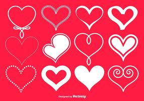 Vector White Hearts Collection
