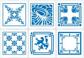 Indigo Blue Tiles Floor Ornament Vectors