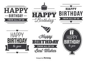 Happy Birthday Typographic Label Set