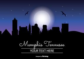 Memphis Night Skyline Illustration