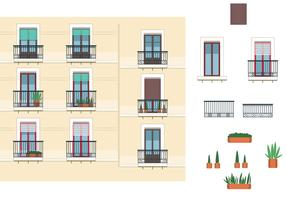 Windows and Balcony Vectors