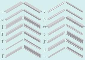 Isometric Steel Beam Vectors