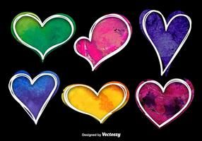 Colorful Watercolor Heart Vectors