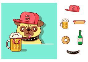 Pug Drinking Vector