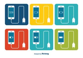 Smartphone with Battery Charger Icon Set