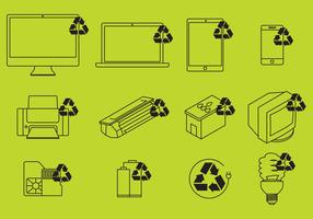 Electronic Recycling Icons Vector