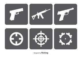 Fire Arms nad Target Vector Icon Set