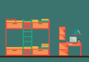Free Bunk Bed Room Vector Illustration