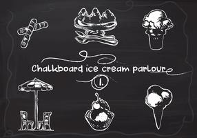 Free Hand Drawn Ice Cream set on Chalkboard Vector Background