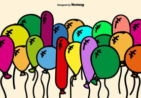 Colorful Cartoon Balloons Vector Background