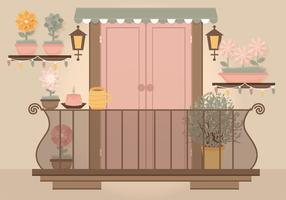 Vector Pink Door Balcony Illustration