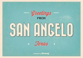 San Angelo Texas Retro Greeting Vector Illustration
