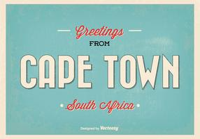 Cape Town Retro Vector Greeting Illustration
