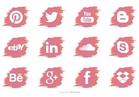 Brush Stroke Social Media Vector Icons