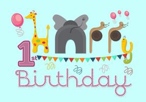 Vector Illustration of 1st Birthday Card