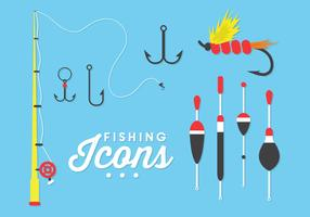 Illustration of Fishing Icons in Vector