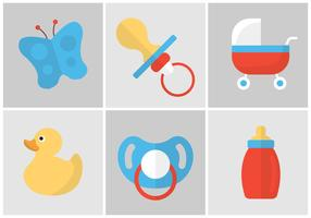 Vector Set of Dummies and Baby Accessories
