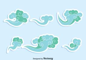 Blue Chinese Clouds Vector