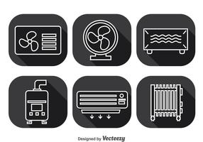 Hvac System Long Shadow Icons Vector