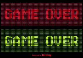 Pixel Game Over Message Vectors