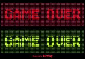 Pixel Game Over Message Vectors