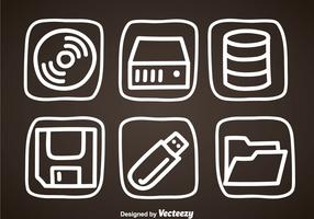 Digital Storage Hand Draw Icons