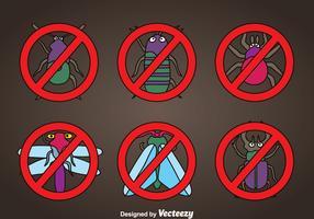 Pest Cartoon Icons Vector