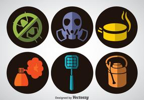 Pest Control Flat Icons Vector