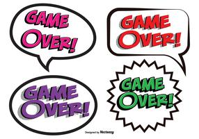Game Over Comic Text Illustrations