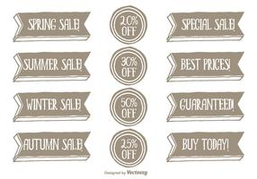 Hand Drawn Style Promotional Vector Label Set