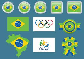 Brazil And Olympic Flags
