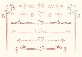 Vector Hand-drawn Love Dividers