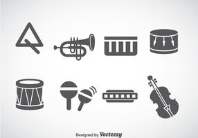 Music Instruments Gray Icons Vector