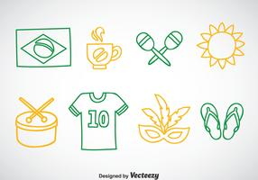 Brasil Outline Icons Vector
