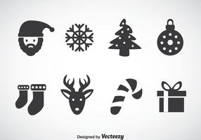 Christmas Gray Icons Vector