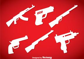 Guns Silhouette Icons Vector