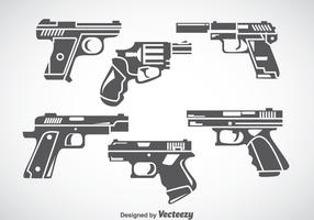 Hand Gun Gray Icons Vector