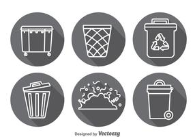 Garbage Long Shadow Icons Vector Sets